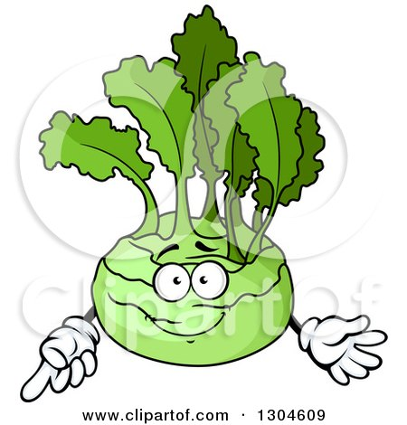 Clipart of a Happy Kohlrabi Character Pointing - Royalty Free Vector Illustration by Vector Tradition SM