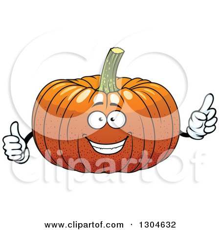 Clipart of a Pumpkin Character Holding up a Finger and a Thumb - Royalty Free Vector Illustration by Vector Tradition SM