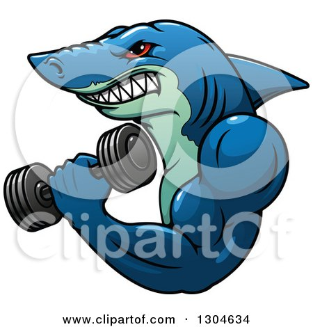Clipart of a Cartoon Tough Blue Bodybuilder Shark Working out with a Dumbbell - Royalty Free Vector Illustration by Vector Tradition SM