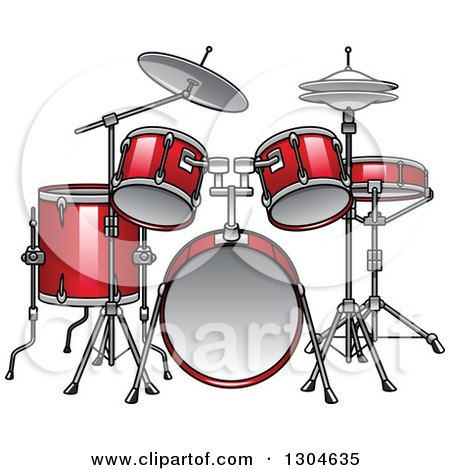 Clipart of a Cartoon Red Drum Set - Royalty Free Vector Illustration by Vector Tradition SM