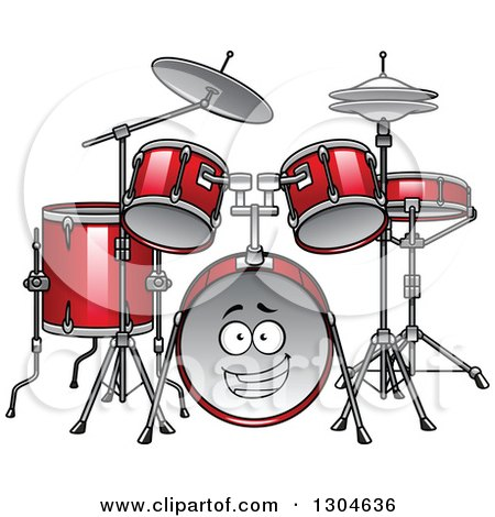Clipart of a Cartoon Red Drum Set Character - Royalty Free Vector Illustration by Vector Tradition SM
