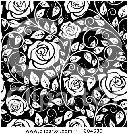 Clipart of a Seamless Background Pattern of White Roses and Leaves over Black - Royalty Free Vector Illustration by Vector Tradition SM
