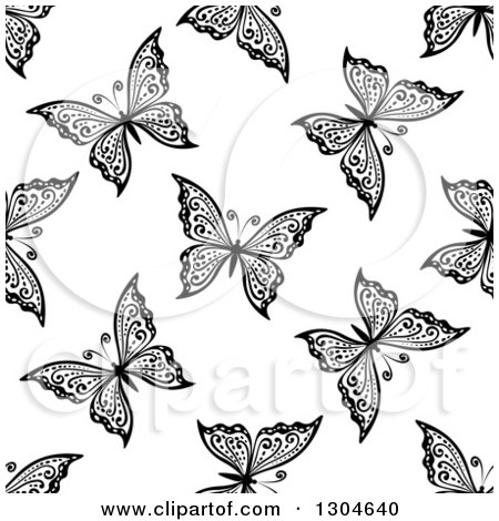 Clipart of a Seamless Black and White Butterfly Background Pattern 10 - Royalty Free Vector Illustration by Vector Tradition SM