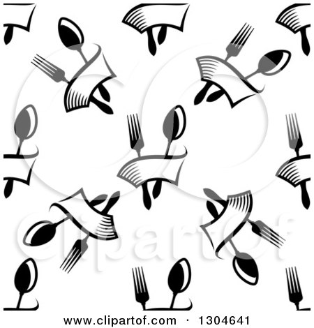 Clipart of a Seamless Pattern Background of Black and White Forks, Spoons and Banners - Royalty Free Vector Illustration by Vector Tradition SM
