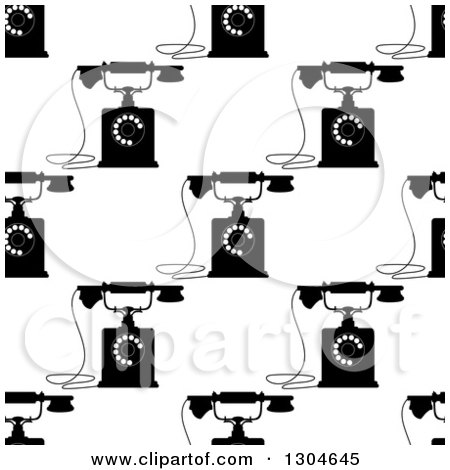 Clipart of a Seamless Background Pattern of Black and White Retro Telephones 2 - Royalty Free Vector Illustration by Vector Tradition SM