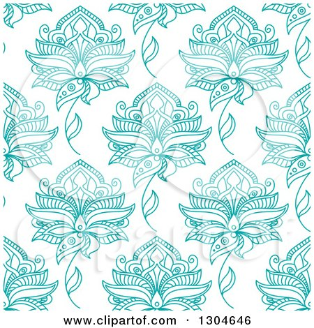 Clipart of a Background Pattern of Seamless Turquoise Henna Flowers on White - Royalty Free Vector Illustration by Vector Tradition SM