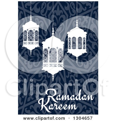 Clipart of a Ramadan Kareem Greeting with White Lanterns over a Blue Pattern - Royalty Free Vector Illustration by Vector Tradition SM