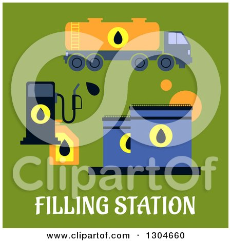 Clipart of a Flat Modern Filling Station and Text over Green - Royalty Free Vector Illustration by Vector Tradition SM