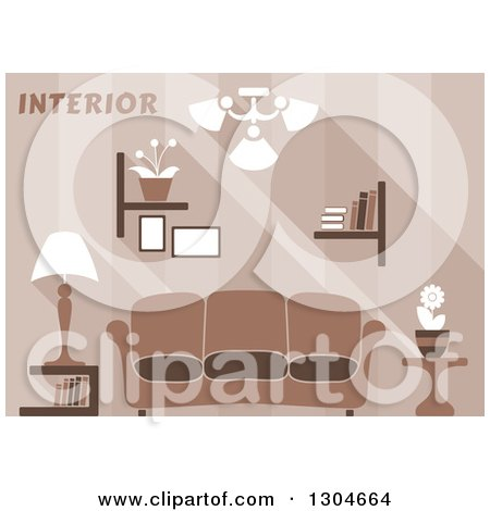 Clipart of a Brown Living Room Interior with Text - Royalty Free Vector Illustration by Vector Tradition SM