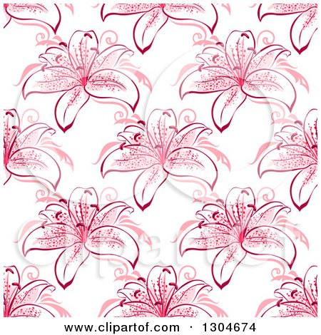 Clipart of a Seamless Background Pattern of Pink Lily Flowers - Royalty Free Vector Illustration by Vector Tradition SM