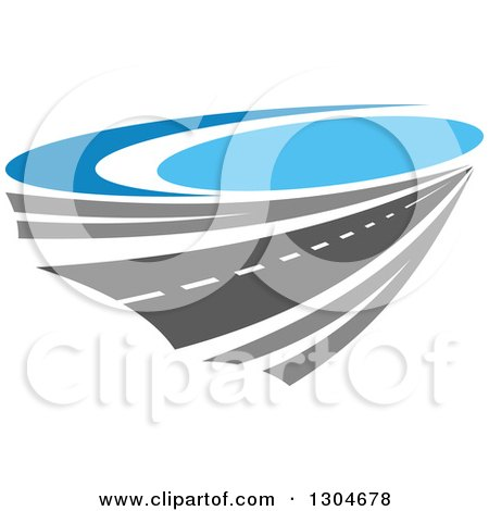 Clipart of a Highway Road and Blue Sky - Royalty Free Vector Illustration by Vector Tradition SM