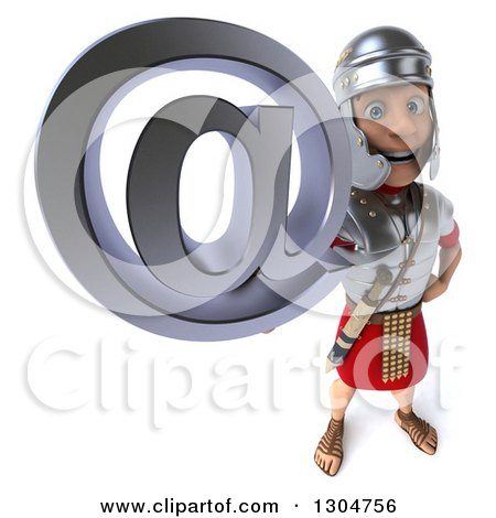 Clipart of a 3d Young Male Roman Legionary Soldier Holding up an Email Arobase at Symbol - Royalty Free Illustration by Julos