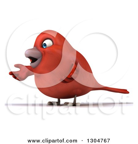 Clipart of a 3d Red Bird Shrugging and Facing Left - Royalty Free Illustration by Julos