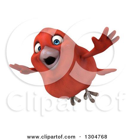 Clipart of a 3d Red Bird Flying Left - Royalty Free Illustration by Julos