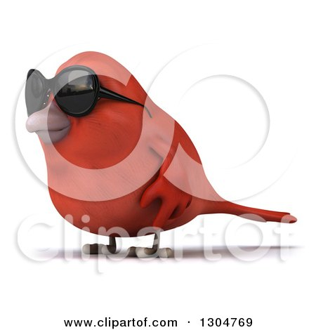 Clipart of a 3d Red Bird Wearing Sunglasses and Facing Left - Royalty Free Illustration by Julos