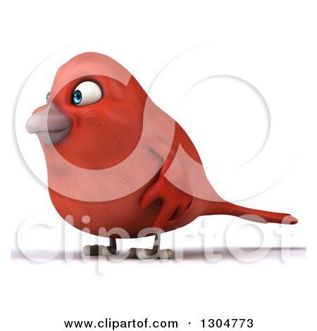 Clipart of a 3d Red Bird Facing Left - Royalty Free Illustration by Julos