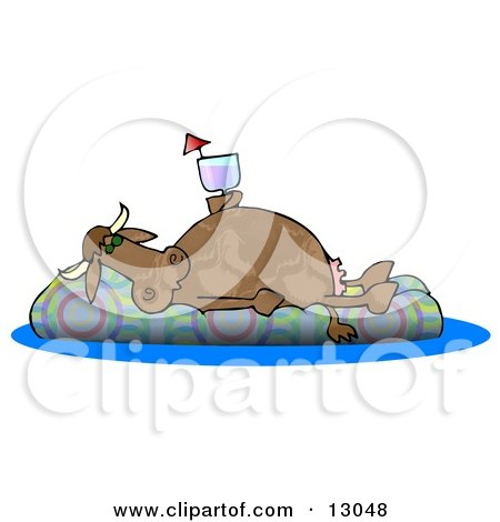 Happy Cow Drinking a Beverage and Relaxing on a Floatation in a Swimming Pool Posters, Art Prints