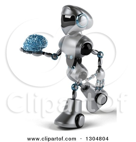Clipart of a 3d Silver Male Techno Robot Walking to the Left and Holding a Blue Glass Brain - Royalty Free Illustration by Julos