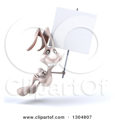 Clipart of a 3d White Bunny Rabbit Hopping to the Right and Holding a Blank Sign - Royalty Free Illustration by Julos