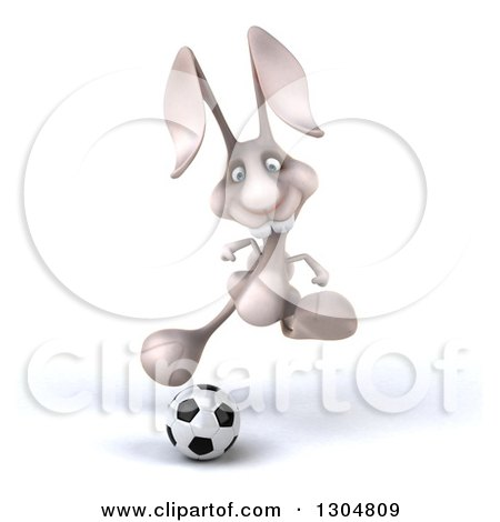Clipart of a 3d White Bunny Rabbit Running and Playing Soccer - Royalty Free Illustration by Julos