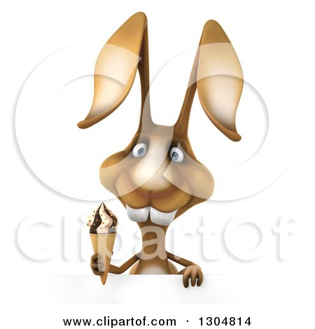 Clipart of a 3d Brown Bunny Rabbit Holding a Waffle Ice Cream Cone over a Sign - Royalty Free Illustration by Julos