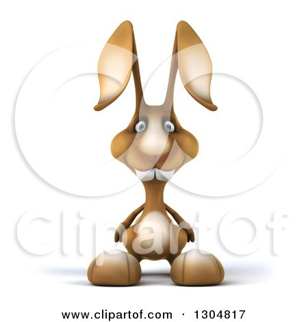 Clipart of a 3d Brown Bunny Rabbit - Royalty Free Illustration by Julos