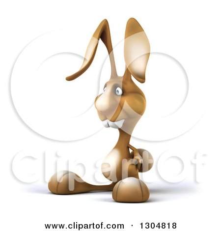 Clipart of a 3d Brown Bunny Rabbit Facing Left - Royalty Free Illustration by Julos