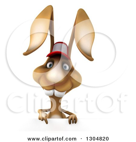 Clipart of a 3d Brown Bunny Rabbit Wearing a Baseball Cap and Pointing down over a Sign - Royalty Free Illustration by Julos