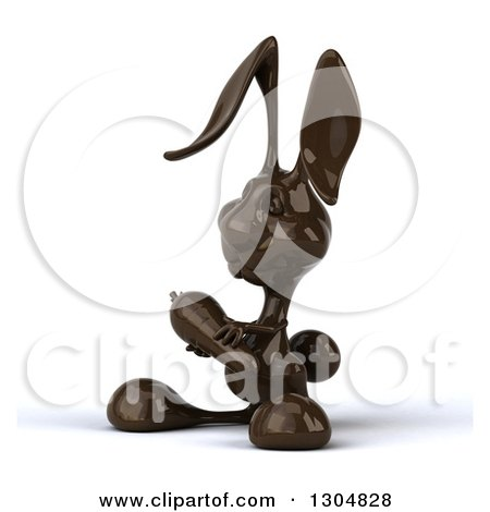 Clipart of a 3d Dark Chocolate Easter Bunny Rabbit Holding a Carrot and Facing Slightly Left - Royalty Free Illustration by Julos