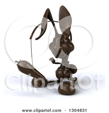 Clipart of a 3d Dark Chocolate Easter Bunny Rabbit Facing Slightly Left, Chasing a Carrot on a Stick - Royalty Free Illustration by Julos