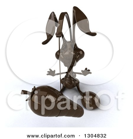 Clipart of a 3d Dark Chocolate Easter Bunny Rabbit Chasing a Carrot on a Stick - Royalty Free Illustration by Julos