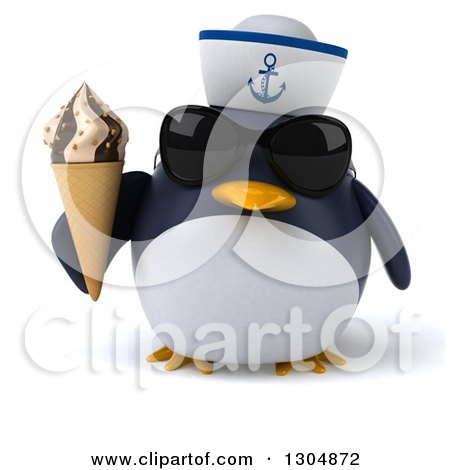 Clipart of a 3d Sailor Penguin Wearing Sunglasses and Holding a Waffle Ice Cream Cone - Royalty Free Illustration by Julos
