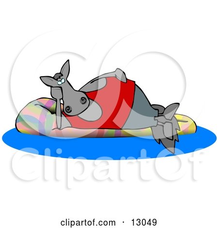 Happy Horse Relaxing on a Floatation in a Swimming Pool Clipart Illustration by djart