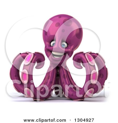 Clipart of a 3d Purple Octopus - Royalty Free Illustration by Julos