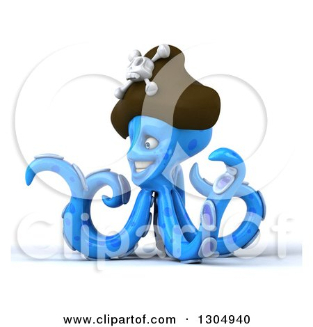Clipart of a 3d Happy Blue Pirate Octopus Pointing to the Left - Royalty Free Illustration by Julos