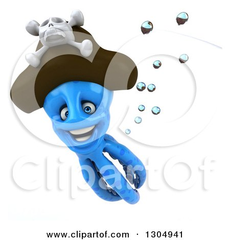 Clipart of a 3d Happy Blue Pirate Octopus Swimming - Royalty Free Illustration by Julos