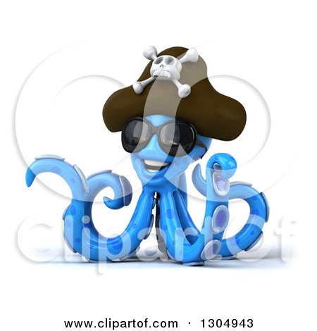 Clipart of a 3d Happy Blue Pirate Octopus Wearing Sunglasses and Pointing - Royalty Free Illustration by Julos