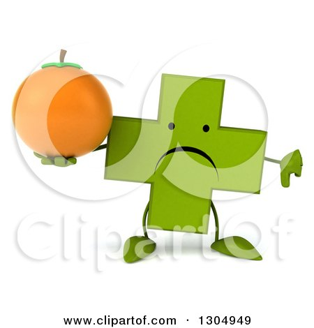 Clipart of a 3d Unhappy Green Naturopathic Cross Character Holding a Navel Orange and Thumb down - Royalty Free Illustration by Julos