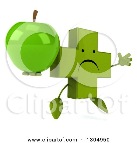 Clipart of a 3d Unhappy Green Naturopathic Cross Character Facing Slightly Right, Jumping and Holding a Green Apple - Royalty Free Illustration by Julos