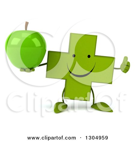 Clipart of a 3d Happy Green Naturopathic Cross Character Holding a Green Apple and Thumb up - Royalty Free Illustration by Julos