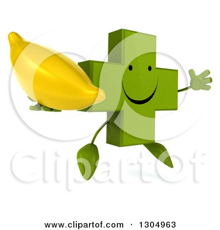 Clipart of a 3d Happy Green Naturopathic Cross Character Facing Slightly Right, Jumping and Holding a Banana - Royalty Free Illustration by Julos