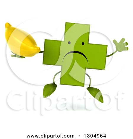 Clipart of a 3d Unhappy Green Naturopathic Cross Character Facing Jumping and Holding a Banana - Royalty Free Illustration by Julos