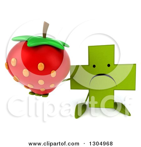 Clipart of a 3d Unhappy Green Naturopathic Cross Character Holding up a Strawberry - Royalty Free Illustration by Julos