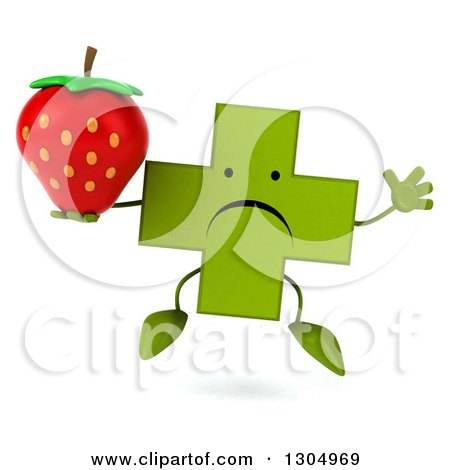 Clipart of a 3d Unhappy Green Naturopathic Cross Character Jumping and Holding a Strawberry - Royalty Free Illustration by Julos