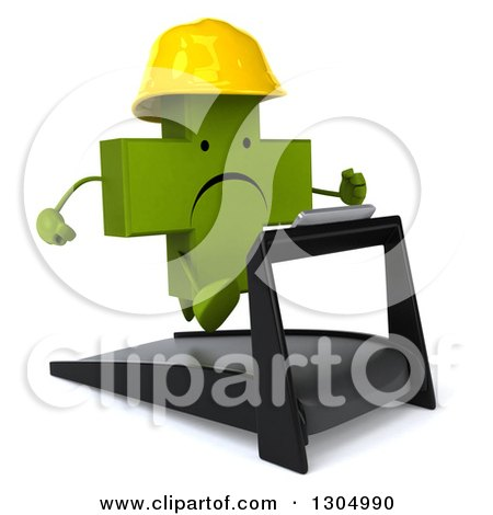 Clipart of a 3d Unhappy Green Contractor Naturopathic Cross Character Facing Slightly Right, Holding Plans and Running on a Treadmill - Royalty Free Illustration by Julos