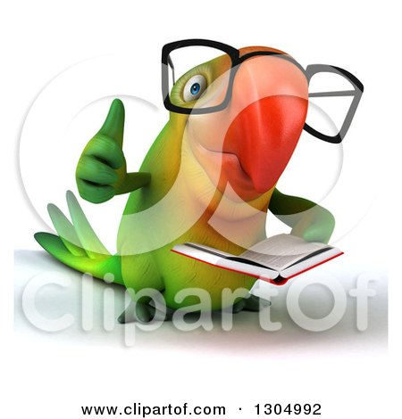 Clipart of a 3d Bespectacled Green Macaw Parrot Reading a Book and Giving a Thumb up - Royalty Free Illustration by Julos
