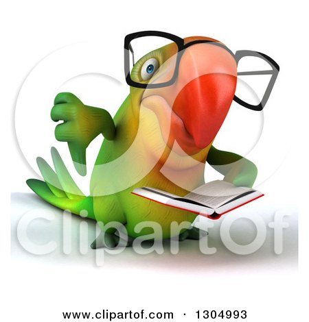 Clipart of a 3d Bespectacled Green Macaw Parrot Reading a Book and Giving a Thumb down - Royalty Free Illustration by Julos
