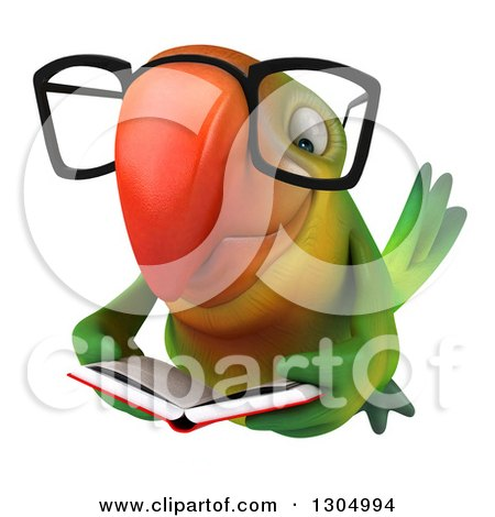 Clipart of a 3d Bespectacled Green Macaw Parrot Flying and Reading a Book - Royalty Free Illustration by Julos