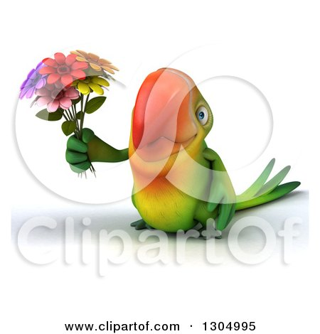 Clipart of a 3d Green Macaw Parrot Holding a Bouquet of Flowers - Royalty Free Illustration by Julos