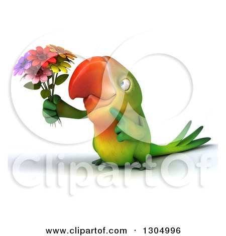Clipart of a 3d Green Macaw Parrot Holding and Pointing to a Bouquet of Flowers - Royalty Free Illustration by Julos